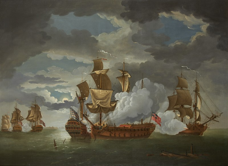 The action between the frigates Bonhomme Richard (Capt John Paul Jones) and HMS Serapis, during the Battle of Flamborough Head, 1779
