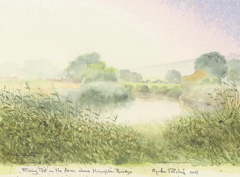 Rising mist on the Arun above Houghton Bridge