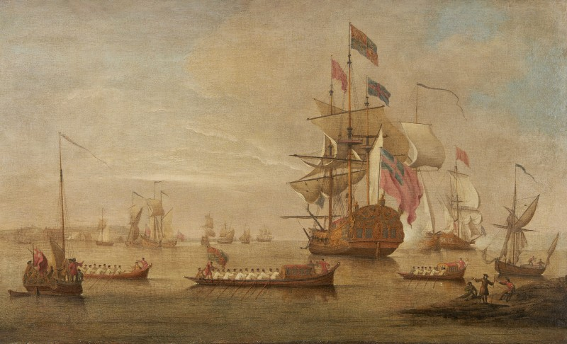 The arrival of George II off Margate aboard the Royal Yacht Carolina on his return from Hanover, September 1729