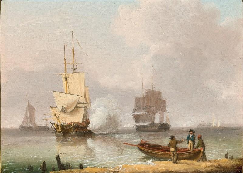 Men-o-war under sail on a calm day