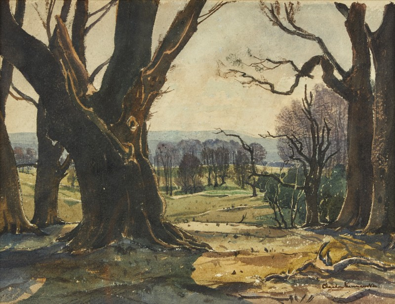 Claude Graham Muncaster , PRSMA, RWS, ROI, RBA, View from the 5th tee at Cowdray Golf Club, West Sussex, 1927