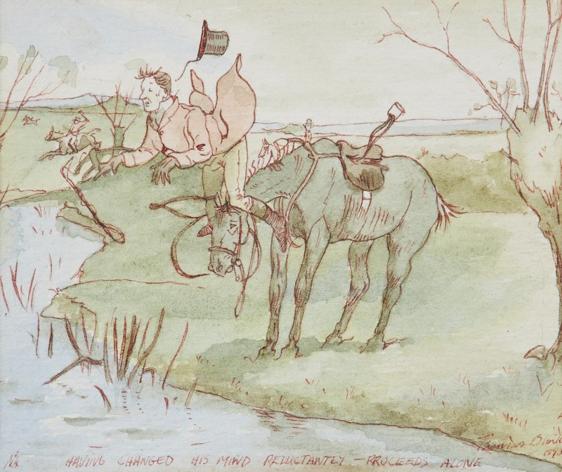 Having changed his mind reluctantly - proceeds alone, a hunting sketch
