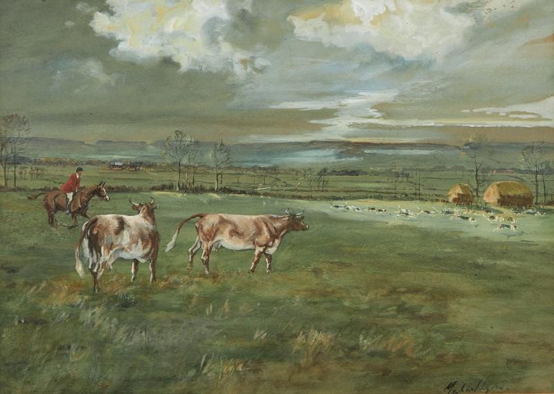 A Hunt running through a farm
