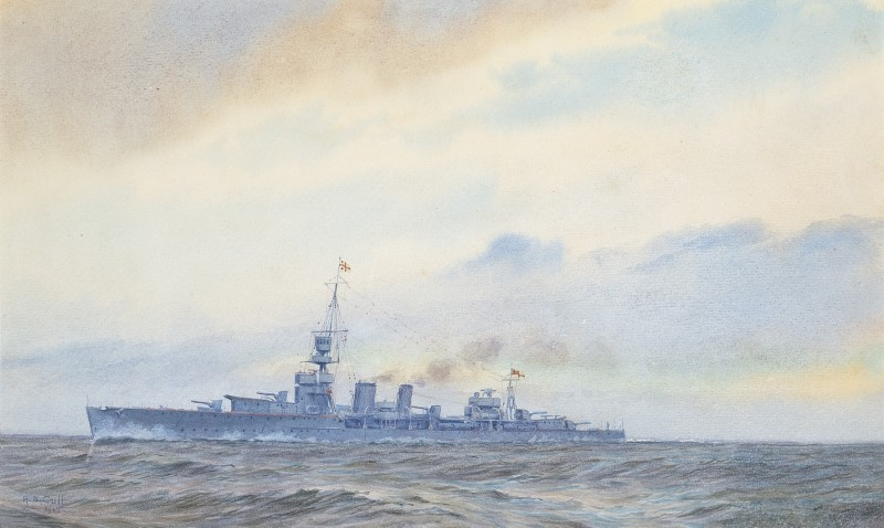 A 'Ceres' class light cruiser steaming at speed and wearing the command flag of a Rear-Admiral