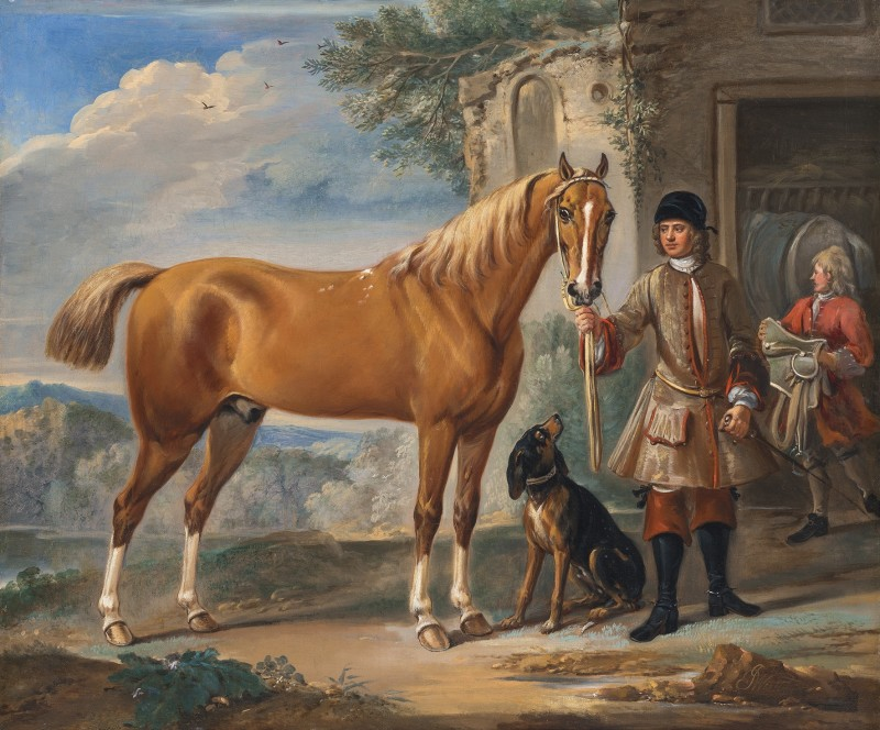 John Shafto of Bavington Hall and Whitworth Hall, Northumberland, holding a hunter, in a landscape, with a groom and stable beyond