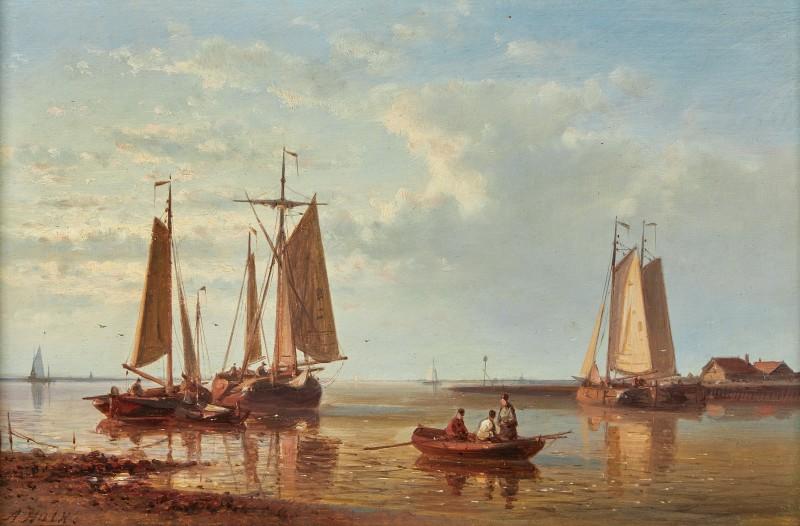 A Dutch fishing fleet anchored off the coast