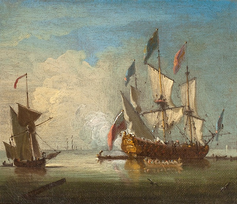 Peter Monamy , A flagship of the Red Squadron, with the Lord High Admiral aboard, firing a salute as she prepares to sail from her anchorage