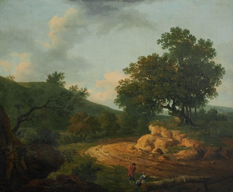 Figures resting in a rural landscape
