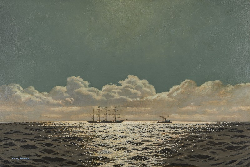 Reflections on the sea, ship under tow