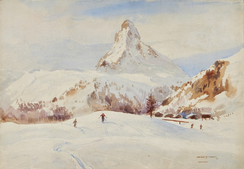 Arthur James Wetherall Burgess , RI, ROI, RBC, RSMA, The Matterhorn, from the slopes of Zermatt
