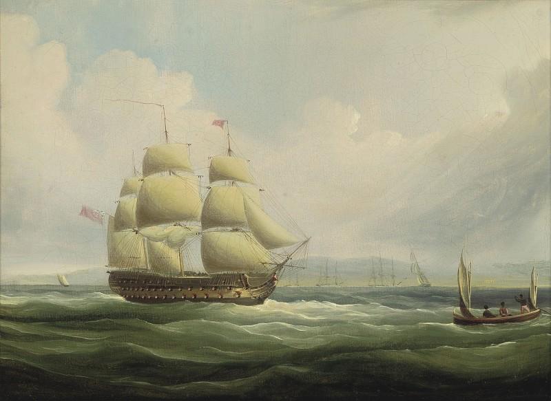 H.M.S. Blake, 74-guns, leaving Port Royal, Jamaica