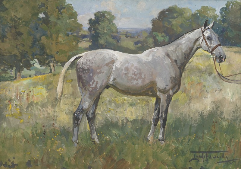 Lionel Dalhousie Robertson Edwards , RI, A dappled grey horse in a landscape