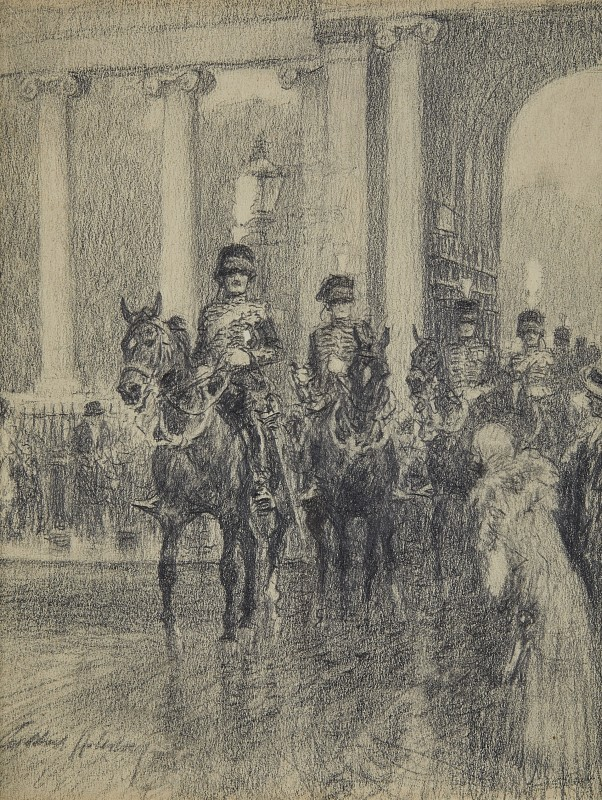 E Battery, Royal Horse Artillery, coming through Marble Arch to fire a salute in Hyde Park