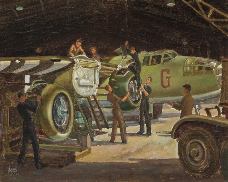 Mechanics working on a North American B-25 Mitchell aircraft in a hanger