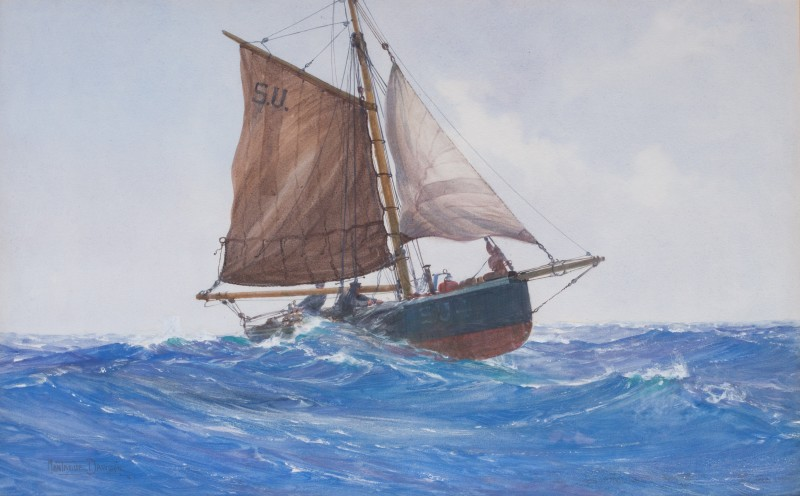 Montague Dawson , RSMA, FRSA, Fishing smack S.U.4 riding a wave