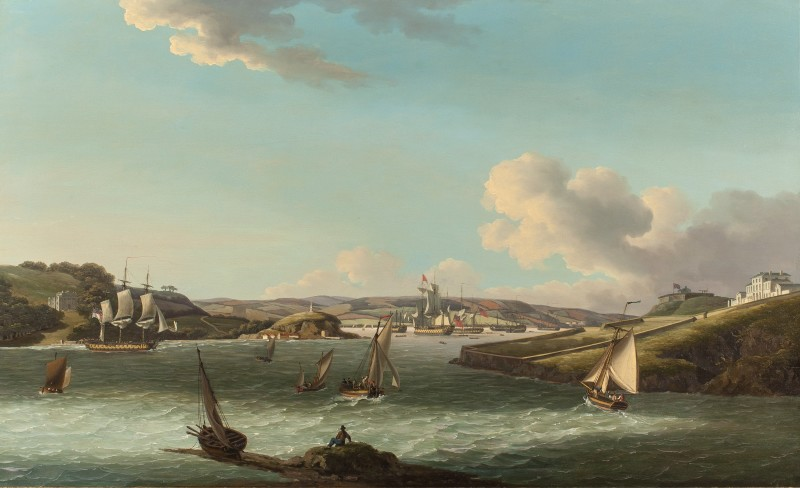 John Thomas Serres , A frigate returning to Plymouth with a Squadron of the red at anchor behind