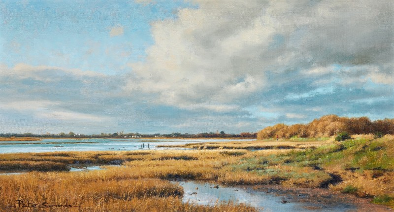 Peter Symonds , A winter afternoon, Pagham Harbour, towards Sidlesham