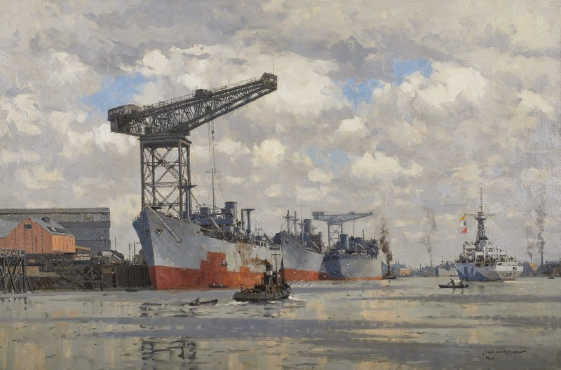 Norman Wilkinson , CBE, SMA, PRWS, RI, The British Corvette HMS Morpeth Castle returning to the Clyde from exercises, 1944