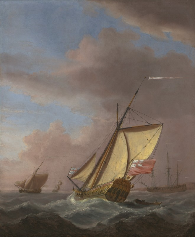 A Smack-Rigged Royal Yacht Close-Hauled in a Breeze