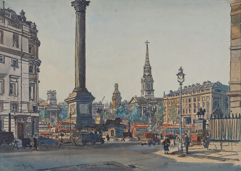 Claude Graham Muncaster , PRSMA, RWS, ROI, RBA, Nelson's Column from Admiralty Arch, London 1924