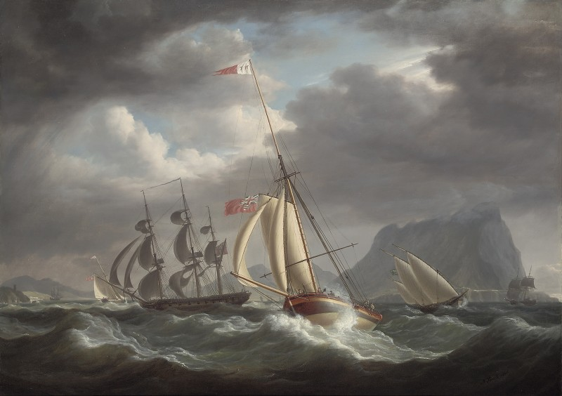 Mr. Tennant's cutter yacht `Dart' in two positions, in company with HMS Snake, in rough seas off Gibraltar