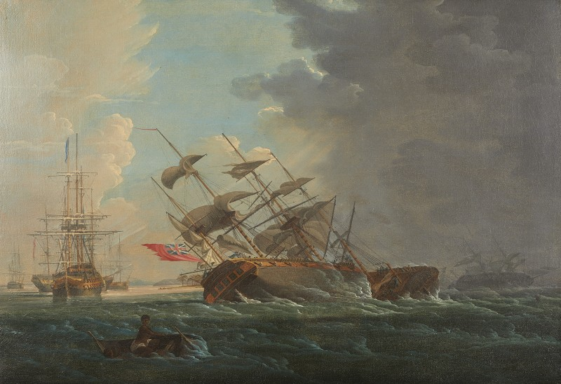 Ships of the Royal Navy caught in a sudden squall in the West indies despite the safety of an inshore anchorage beyond