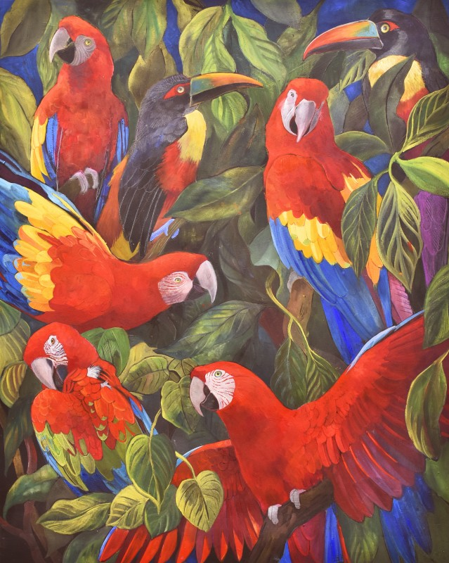 Scarlet Macaws and Fiery-billed Aracari