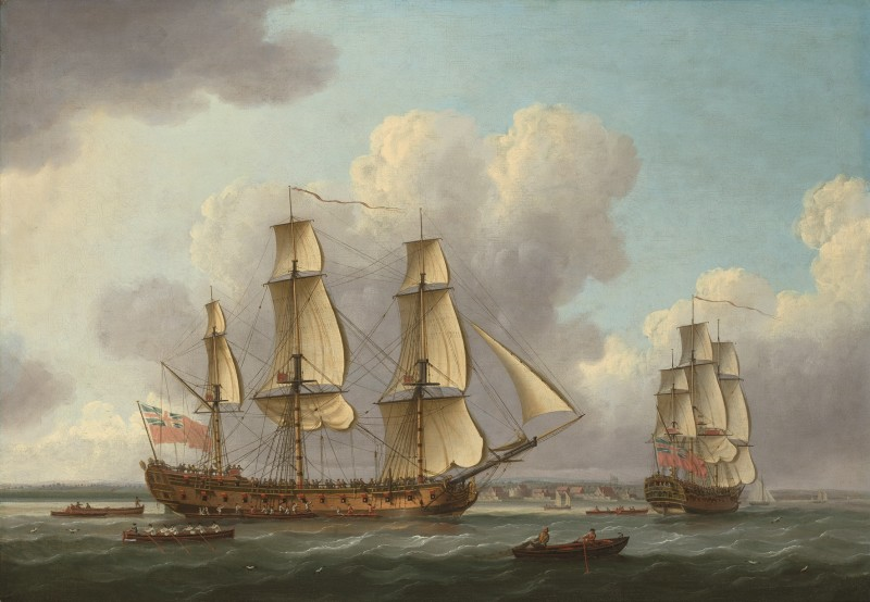 John Cleveley Snr , The East Indiaman Princess Royal at the Downs on her maiden voyage to and from China, 9th July 1771