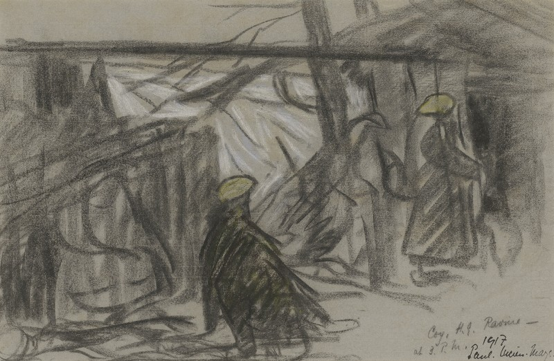 Ravine near Cambrai, French Western Front in winter with two soldiers on guard