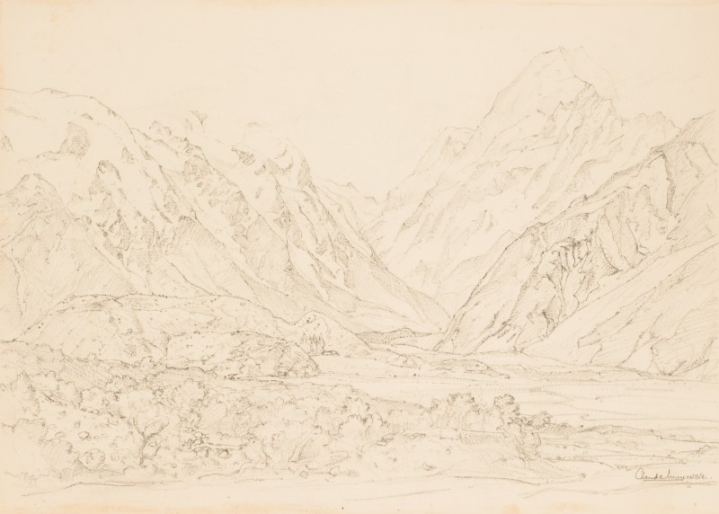 Mount Cook, New Zealand, sketched from the Hermitage Hotel