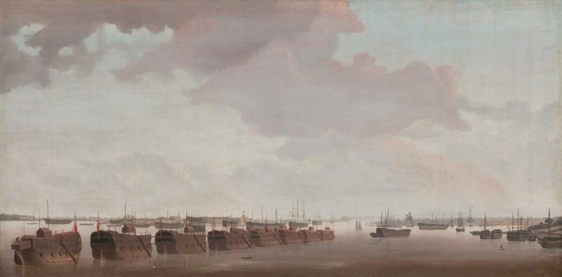 Morning light: prison hulks in Portsmouth Harbour