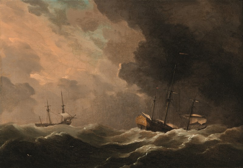 Two ships scudding in a gale