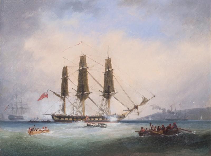 Royal Barge saluting a frigate