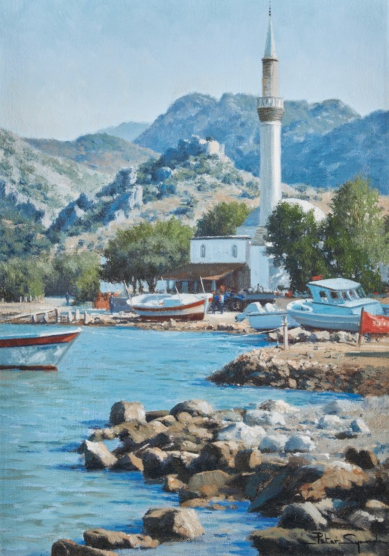 Peter Symonds , A village waterfront, near Marmaris, Turkey