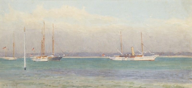 Alma Claude Burton Cull , 'Miranda' and other RYS yachts off The Castle, Cowes