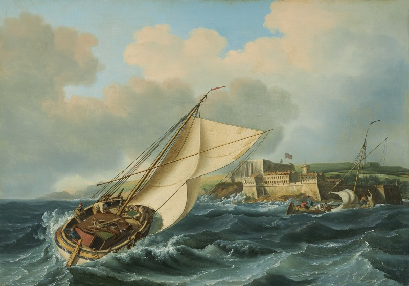 John Thomas Serres , The return of the fishing fleet off Castle Cornet, St. Peter Port, Guernsey