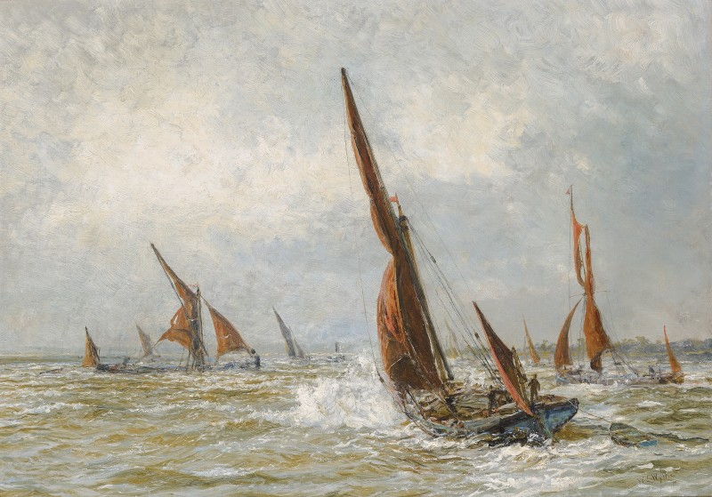 Spritsail Barge under sail in rough conditions