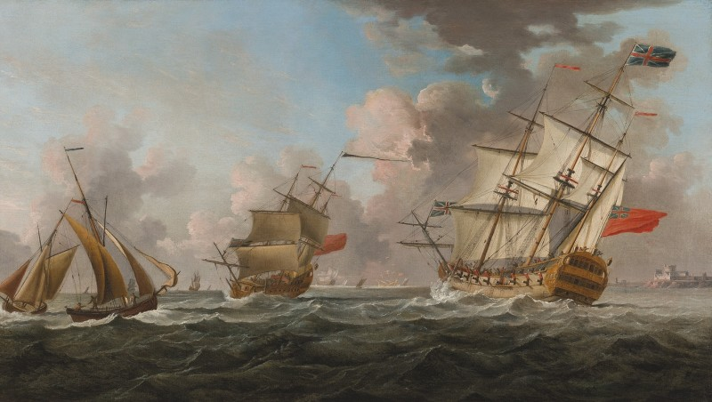 Warships of the Royal Navy heeling in the breeze