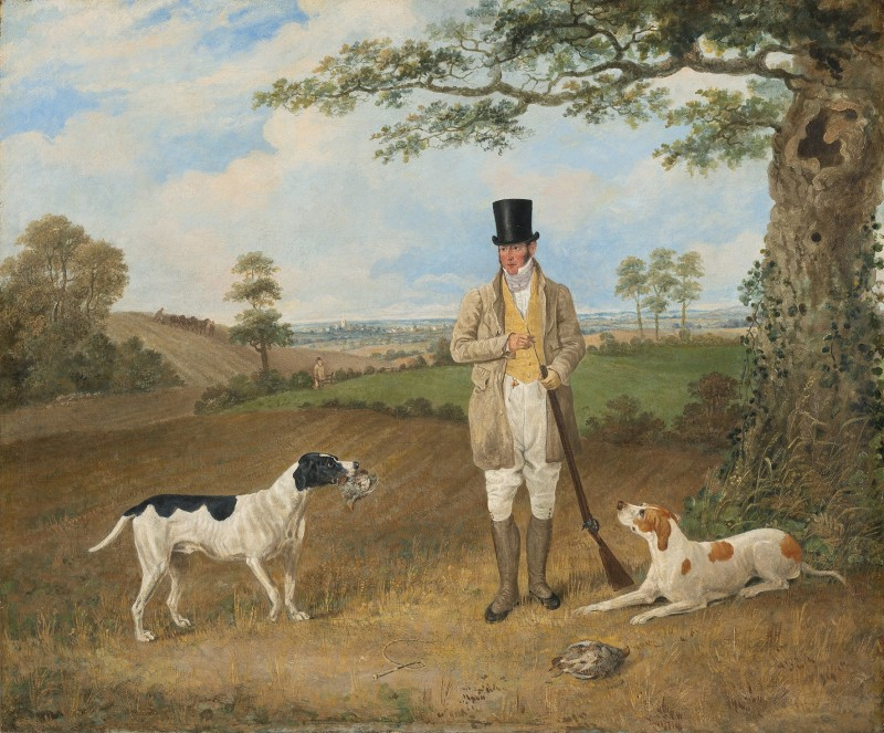 William Haslehust shooting partridge with his two favourite pointers