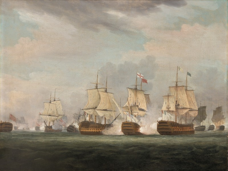 HMS Queen Charlotte engaging the enemy at the battle of the 'Glorious 1st of June', 1794