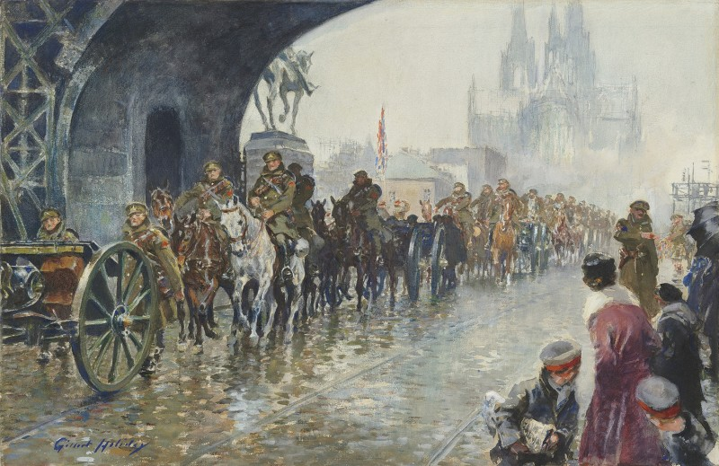 29th Division crossing the Hohenzollern Bridge into Cologne, 1918