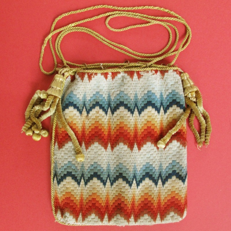 Stylish mid 19th century woollen needlework reticule with chenille tassels.