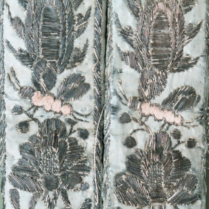 18th century men's garters with insect and bird hand embroidered design. A rare item Sold