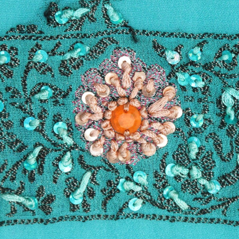 Vintage embroidered shawl in vivid summer colours.