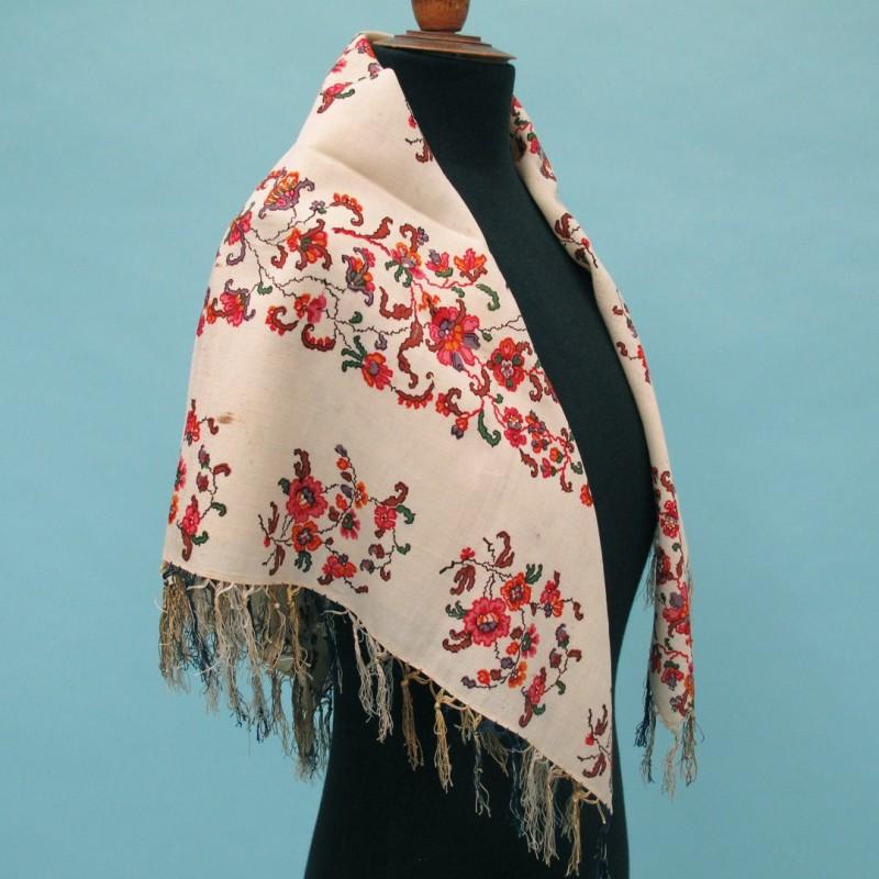 Early 19th century small woven paisley shawl.