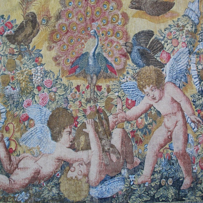 Late 19th century French painted tapestry on canvas.