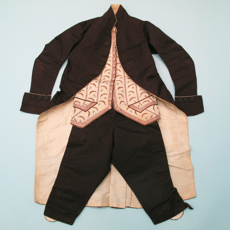 18th century man's three piece Archival picture and long gone Possible the waistcoat didn't match the original outfit