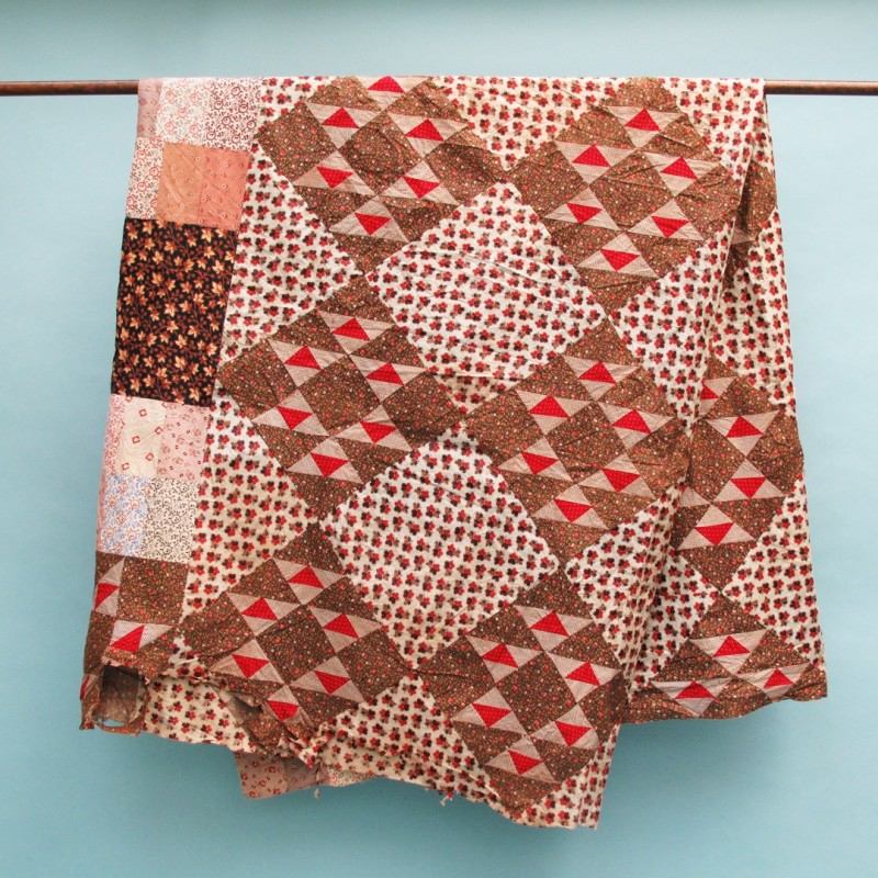 Fresh colours and patterns Unlined 19th century patchwork quilt