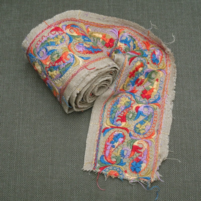 2 metre length of hand embroidered trim. Lovely colours