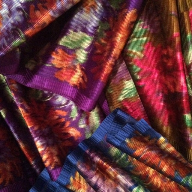Selection of brightly coloured Edwardian wide silk sash ribbons. In unused condition.